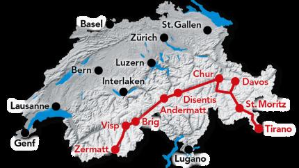 Reiseroute Glacier und Bernina Express von Zermatt nach Tirano