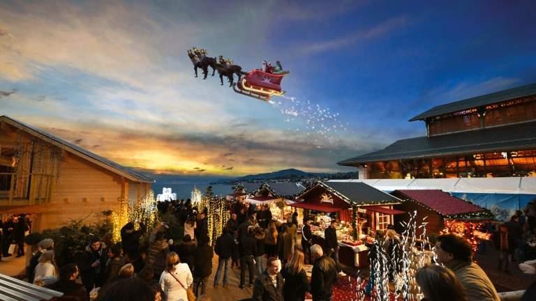 Montreux winter flying Santa Claus